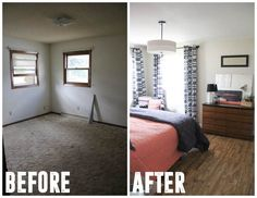 Modern Master Bedroom Redesign, See how an Entire Retro house was flipped in 5 months. www.BrightGreenDoor.com