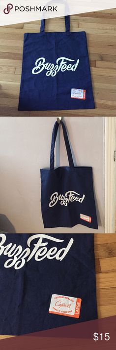 """Buzz Feed Tote Bag, lightweight 100% cotton, New! Lightweight Navy tote bag with BuzzFeed logo.  Very lightweight.   100% cotton.  BRAND NEW.  16"""" long, 14"""" wide, 10"""" handle drop. Perfect for the BuzzFeed fan! Bags Totes"""