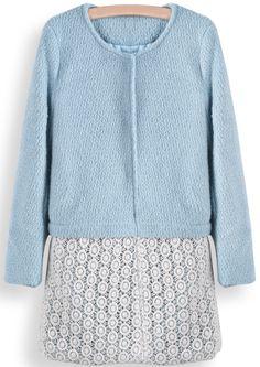 Abrigo de lana combinado encaje manga larga-Azul EUR€36.28