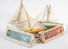 Vintage toy sailing boats by Star Yachts of Birkenhead, England Nautical Fashion, Nautical Style, Family Memories, Wooden Boats, Radio Control, Old Toys, Toys For Boys, Vintage Toys, Pond