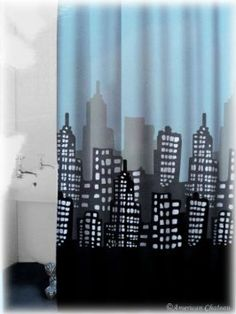 "Superhero bathroom shower curtain:  Amazon.com - 72"" City Street Skyscrapers Buildings Blue/Grey/Black Fabric Shower Curtain"