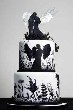 This was my entry into the current Squires Exhibition The category was 2 tier hand painted wedding cake. Now I love all things busy and quirky but there was something so relaxing about just sitting at my table with a paint brush in hand. Black White Cakes, Black And White Wedding Cake, White Wedding Cakes, Cake Wedding, Gorgeous Cakes, Pretty Cakes, Cute Cakes, Awesome Cakes, Macarons