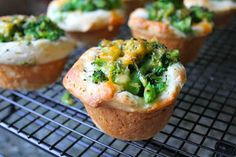 """Brocolli + Cheese Biscuit Mini-Muffins.  This recipe makes for great appetizers, breakfast or lunch. It's a variation of a recipe found on """"Baking with my Kids."""""""