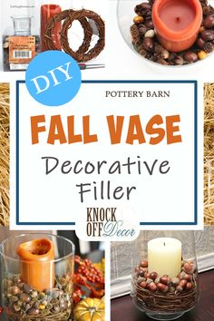 Pottery Barn Inspired Fall Vase Filler DIY this beautiful fall vase filler complete with orange candle leaves dried harvest fruits and vines. Take that Pottery Barn! The post Pottery Barn Inspired Fall Vase Filler appeared first on Wohnaccessoires. Pottery Barn Fall, Pottery Barn Inspired, Vase Crafts, Decor Crafts, Diy Crafts, Vase Centerpieces, Vases Decor, Fall Vase Filler, Diy Design