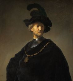 """Rembrandt, """"Old Man with a Gold Chain"""" oil on panel (via Wikimedia). Ivory black, a pigment used by Rembrandt and other artists, made from bone char, burnt ivory. Leiden, Rembrandt Portrait, Rembrandt Paintings, Rembrandt Art, Man Portrait, Portrait Photo, List Of Paintings, Art Paintings, Portrait Paintings"""