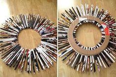 recycled magazine wreath