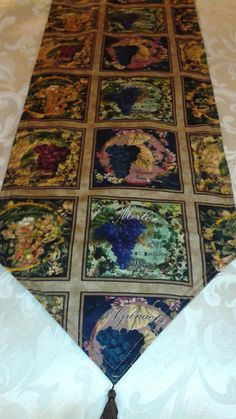 Wine Grapes Themed Table Runner 72 inches long Reversible and Machine Washable