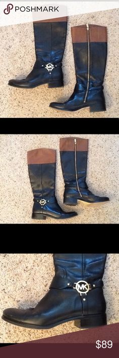 MICHAEL KORS LOGO TWO TONED RIDING LEATHER BOOTS Michael KORS sz 9 black and brown two toned leather riding boots. MK logo in GOLD hardware on harness.  Nice condition, normal wear.  Gorgeous boots!  Will ship right away.  Check out my other designer items MICHAEL Michael Kors Shoes Combat & Moto Boots