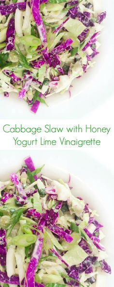 Cabbage Slaw with Yogurt Lime Vinaigrette - A fast and healthy no-cook vegetable side dish recipe!