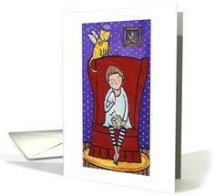 Angel Kitty Sympathy Greeting card by Jen Niles
