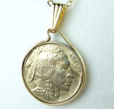 Buffalo Nickel 1935 Coin Pendant 14kt Gold Filled Chain Necklace | dianesdangles - Jewelry on ArtFire