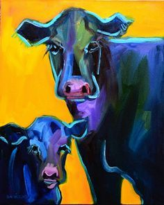 Black Angus calf cattle beef cow original oil painting art sold by ...