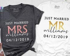 Etsy :: Your place to buy and sell all things handmade Groom Shirts, Shirt Shop, T Shirt, Text Design, Couple Shirts, Just Married, Anniversary Gifts, Colorful Shirts, Unisex