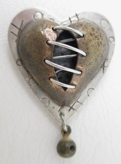 Whimsical Thomas Mann Sterling Bronze Heart Pin