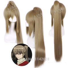 (27.60$)  Watch here - http://aiom4.worlditems.win/all/product.php?id=1966878976 - Okita Sougo Blonde 70cm Straight Long Synthetic Cosplay Anime Wig Chip Ponytail