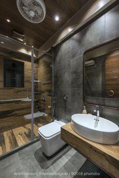 bathroom decoration appartement Retro Style Appartment Interiors-Ankit Vikmani - The Architects Diary Washroom Design, Toilet Design, Bathroom Design Luxury, Bathroom Layout, Modern Bathroom Design, Small Bathroom, Bathroom Ideas, Bathroom Remodeling, Boho Bathroom