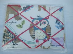 Padded Memo Board/Notice Board/Note Board/Prestigious Textiles Forest Friends/Owl Fabric by HowManyBeansMakeFive on Etsy