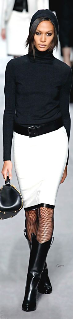 Tom Ford ● Fall 2014. HAve a black and white skirt just like this! women fashion outfit clothing style apparel @roressclothes closet ideas