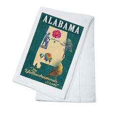 Birmingham, Alabama - State Icons - LP Artwork (100% Cotton Towel Absorbent), Blue wash