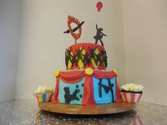 Celebrating 5th Annual YMCA Jr Circus with a Circus Cake and cupcakes