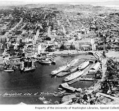 Aerial view of Victoria's Inner Harbour ca. Victoria City, Victoria Vancouver Island, Victoria British Columbia, Emily Carr, Western Canada, History Facts, Model Trains, Aerial View, Historical Photos