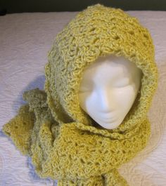 Crochet Hooded Scarf/Warm Yellow by Kitkateden on Etsy, $25.00