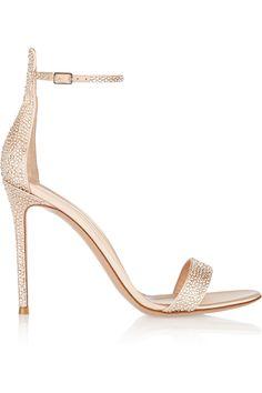 Gianvito Rossi|Embellished satin sandals |NET-A-PORTER.COM