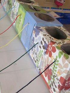 Yarn ball in empty tissue box - knitting diy yarn holder, wool holder Crochet Crafts, Crochet Yarn, Yarn Crafts, Sewing Crafts, Yarn Projects, Knitting Projects, Crochet Projects, Tissue Box Crafts, Tissue Boxes