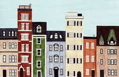 New England Brownstones and row houses were a common sight during my brief stint living in Boston, Massachusetts. The charming historical architecture and colorful houses and buildings were postcard perfect! This colorful, bright art illustration combines different styles and colors of real build...