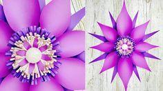 FLOR GIGANTE DE PAPEL | FLORES DE PAPEL | FLOR FANTASÍA | MOLDES GRATIS | GIANT PAPER FLOWER - YouTube