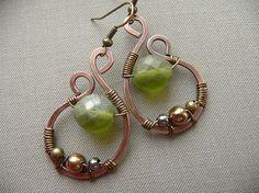 Czech glass bead wire wrap earrings in copper