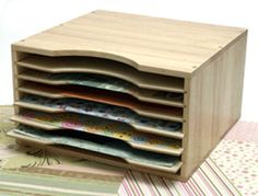 paper storage: shelves that slide out for easy access