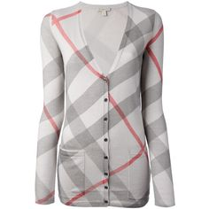 Burberry Brit Check Cardigan ($409) ❤ liked on Polyvore featuring tops, cardigans, jackets, burberry, shirts, multicolour, checkerboard shirt, v-neck cardigan, checked shirt and v neck cardigan