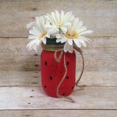 Watermelon Painted Mason Jar