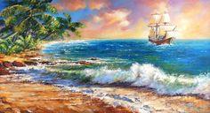 Заре на встречу Приятный морской пейзаж и парусник, рассекающий волну и летящий навстречу солнцу… всё это выполнено в классическом ключе! Дополняет и то, что картина одета в раму из итальянского багета, который тоже, кстати, подчёркивает классику содержания. Данное произведение хорошо «приживётся» у любителей в живописи жанра классицизма!