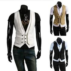 Inset Two Layered Style Slim Vest - FINALLY. A WHITE VEST.