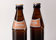 Retro bottles released by Coca-Cola for Fanta's anniversary. FANTA first made and was wildly popular in Nazi Germany Orange Soda Brands, Coca Cola Syrup, German Markets, Fanta, Drinks Logo, Carbonated Drinks, Food Industry, Germany, Alcohol