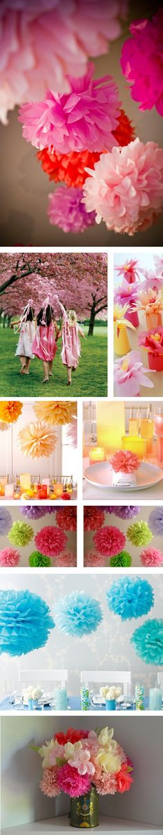 Colorful collage of DIY tissue paper flowers and pom pons as party decor.