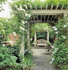A pergola offers privacy while keeping your outdoor retreat shady and cool. More shade solutions for outdoor rooms Gazebo Pergola, Covered Pergola, Pergola Ideas, Decking Ideas, Arbor Ideas, Pergola Kits, White Pergola, Pergola Garden, Small Pergola