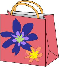Gift bag with flower decorations and handle