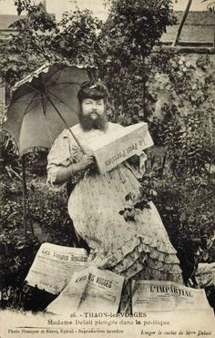 Edwardian bearded lady Clémentine Delait reading the newspaper, France Old Circus, Vintage Circus, Vintage Photographs, Vintage Photos, Antique Photos, Sideshow Freaks, Human Oddities, Bearded Lady, Circus Performers