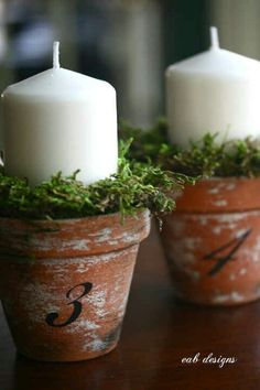 Candles in flower pots