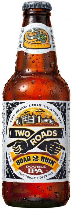 Cerveja Two Road Road 2 Ruin Double IPA , estilo India Pale Ale (IPA), produzida por Two Roads Brewing, Estados Unidos. 8% ABV de álcool.