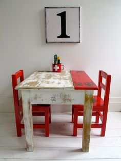 Industrial Vintage OLD Childrens Table AND Chairs Kids Table AND Chairs |  EBay