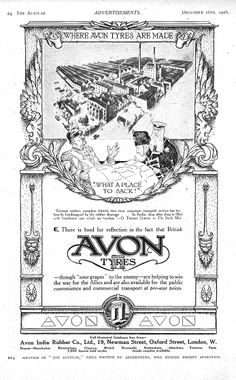 Avon Car Tyre Autocar Advert 1916 - Where Avon Tyres are made