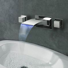 LED Waterfall Bathroom Faucet Sink Basin Mixer Chrome Water Tap DualåÊHandle Ships free from China in about 14 days DESCRIPTION: Faucet Body Material •__Brass Faucet Spout Material •__Stainless Steel3
