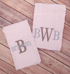 Boy Burp Cloth Set  Personalized Burp Cloth Set  by TinyTotsShop