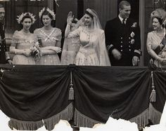 Happy day: Princess Elizabeth and Prince Philip on the balcony of Buckingham Palace after their wedding ceremony. (L-R): King George VI, bridesmaids Princess Margaret Rose and Lady Mary Cambridge, the royal couple, and Queen Elizabeth (Queen Mother)