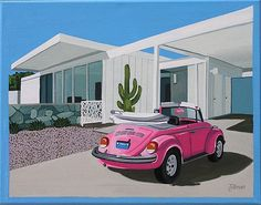 Mid Century Modern Eames Retro Limited Edition Print from Original Painting Pink VW Beetle PINK BUG Pink Volkswagen Beetle convertible in the driveway. This is a limited edition prints) print by Linda Mid Century Art, Mid Century House, Mid Century Modern Design, Retro Art, Mid-century Modern, Modern Living, Pink Volkswagen Beetle, Beetle Car, Gouache Painting