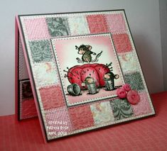 cute card with inchie patchwork framing the adorable image...